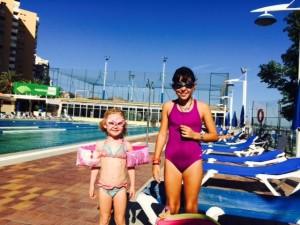 Ellie and Olivia at the swim club