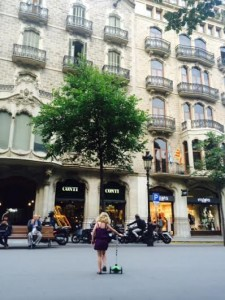 Ellie riding around barcelona