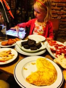 Ellie with morcilla, Spanish tortilla and jamon serrano YUM