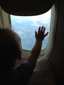 Ellie on her first flight (to Europe)