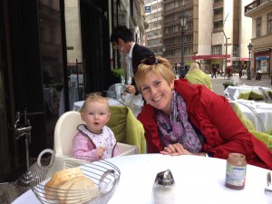 Ellie and I dining alfresco in Budapest