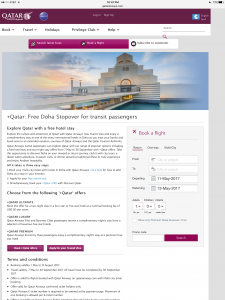 Qatar Airlines Website