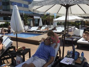 poolside at the Hilton Diagonal Mar Barcelona