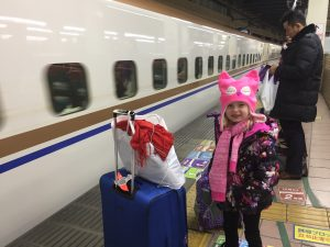 Ellie Boarding the Shinkansen