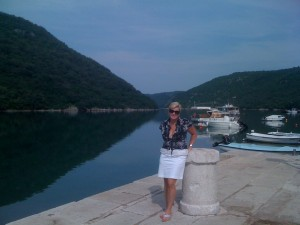 Laurie in front of Limski Fjord, Croatia