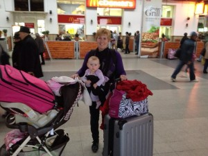 Laurie & Baby Ellie in Bucharest Train Station