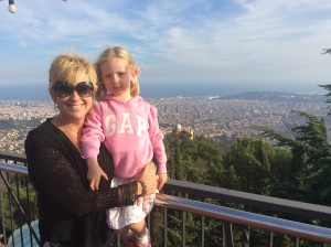 Laurie and Ellie from atop Barcelona at Tibidabo