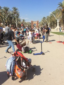 Enjoying activities on plaza in Barcelona