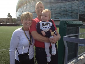Laurie, Brian and Ellie at Navy football game in Dublin